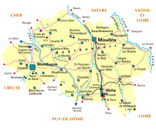 Carte Departement 03 Allier