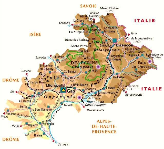 Carte Departement 05 Hautes Alpes