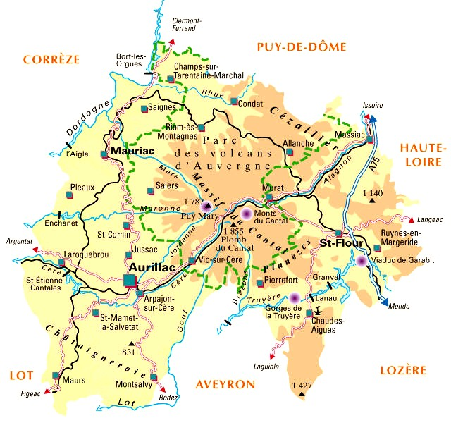 Carte  Departement Cantal (15)
