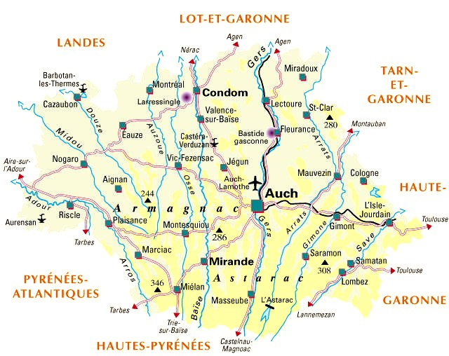 Carte Departement Gers (32)