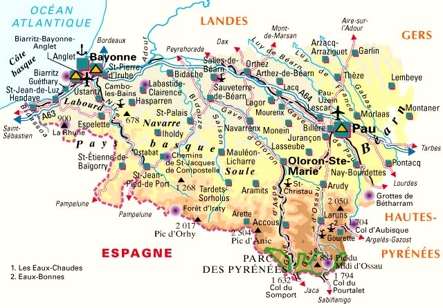 Carte Departement Pyrenees Atlantiques (64: Pays Basque + Bearn)
