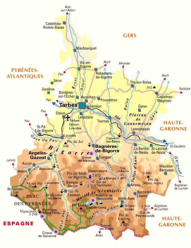 Carte plan du departement des hautes pyrenees 65 for Plan 65