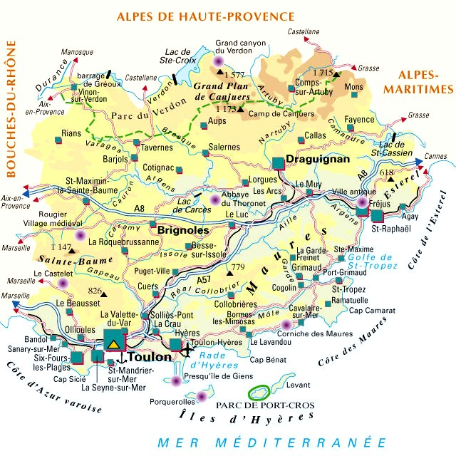 Carte  Departement du Var  (83)