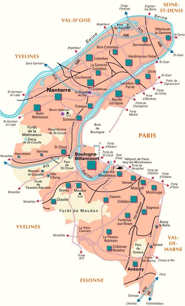 Carte Departement Hauts de Seine (92)