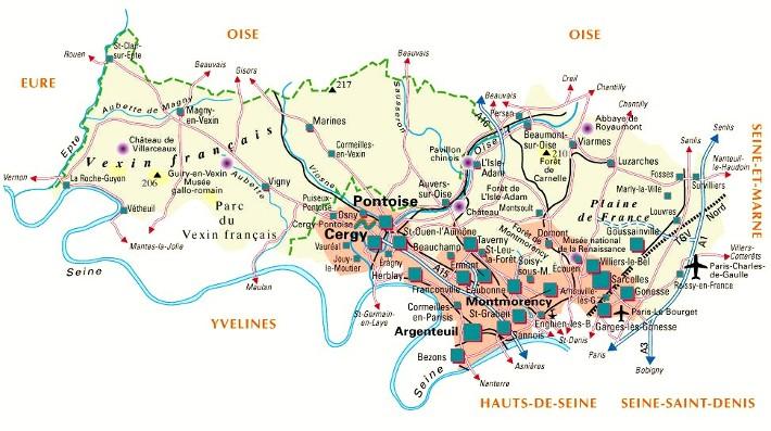 Carte du departement val d oise (95)